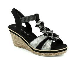 Marco Tozzi Wedge Sandals - Black multi - 28302/098 FRETO