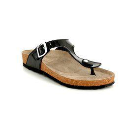 Marco Tozzi Toe Post Sandals - Black patent - 27400/20/018 JANINE