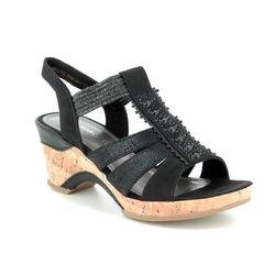 Marco Tozzi Wedge Sandals - Black - 28305/22/098 LOZIO