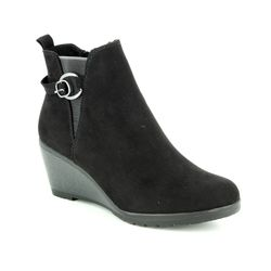 Marco Tozzi Wedge Boots - Black - 25042/21/001 RANCO BUCKLE