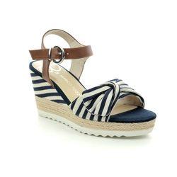 Marco Tozzi Wedge Sandals - Navy - 28706/22/890 TISSABO