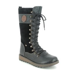 Remonte Mid Calf Boots - Black leather - D8887-01 ASTRICASTLE TEX