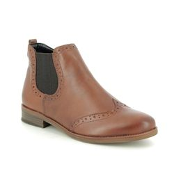 Remonte Chelsea Boots - Tan Leather - R6371-22 BROGUE 95