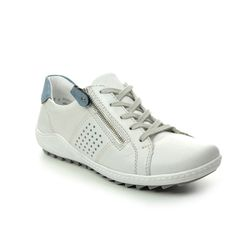 Remonte Comfort Lacing Shoes - White Leather - R1417-80 ZIGZIP 1