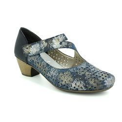 Rieker Court Shoes - Navy multi floral or fabric - 41746-90 SARMIYO