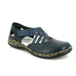 Rieker Comfort Slip On Shoes - Navy - 46363-14 DAISCROSS