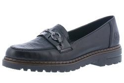 Rieker Loafers and Moccasins - Black leather - 54862-01 PORTCRISSY