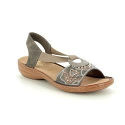 Rieker Comfortable Sandals - Dark taupe - 608B9-45 REGINELDA