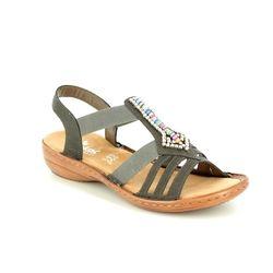 Rieker Comfortable Sandals - Dark taupe - 608S1-45 REGIBEADED