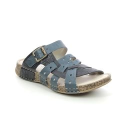 Rieker Slide Sandals - Navy - 61185-12 SHEAR