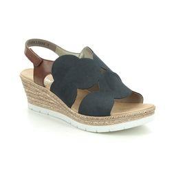Rieker Wedge Sandals - Navy Tan - 61919-14 HYDISC