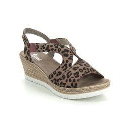 Rieker Wedge Sandals - Leopard print - 61929-25 HYFAWNA