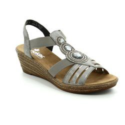 Rieker Wedge Sandals - Pewter - 62459-40 FAWNBLING