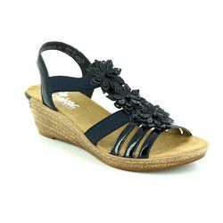 Rieker Wedge Sandals - Navy patent - 62461-15 FAWN