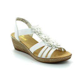 Rieker Wedge Sandals - White - 62461-80 FAWN