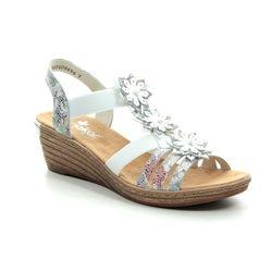 Rieker Wedge Sandals - Floral print - 62461-91 FAWN