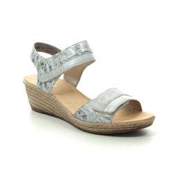Rieker Wedge Sandals - Silver - 62470-91 FAWNVEL