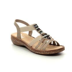 Rieker Comfortable Sandals - Beige - 62851-60 REGIBEADS