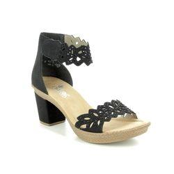 Rieker Heeled Sandals - Black - 66555-01 ROBANKA
