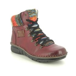Rieker Lace Up Boots - Wine - 73343-35 JOLLYPEEP