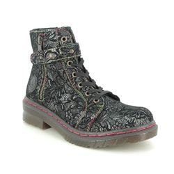 Rieker Lace Up Boots - Black floral - 76241-00 DOCZIP