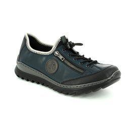 Rieker Comfort Lacing Shoes - Navy - M6269-01 ZIGWAVE