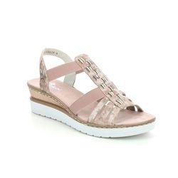 Rieker Wedge Sandals - Pink - V3822-31 HYLIFE