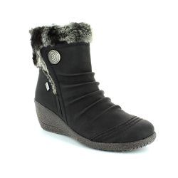 Rieker Wedge Boots - Black - Y0363-01 NOOMITEX