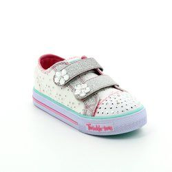 Skechers Girls 1st Shoes & Prewalkers - White patent multi - 10724/429 SHUFFLES