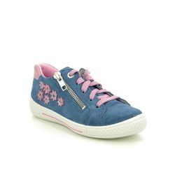 Superfit Girls Shoes - Blue Suede - 09108/80 TENSY 2.0