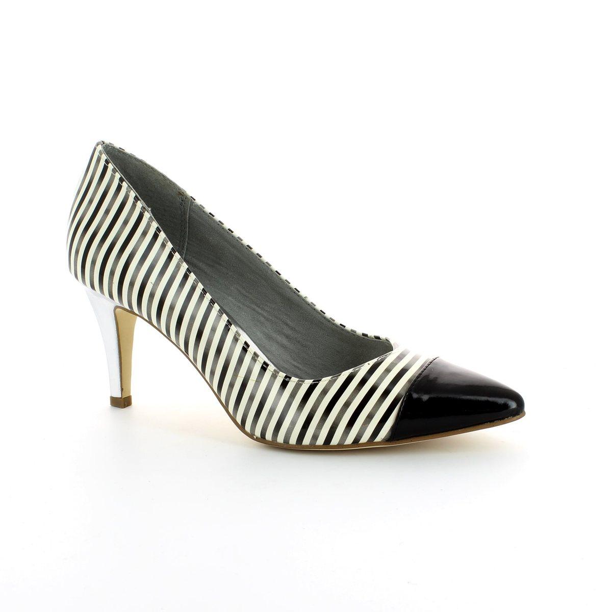 tamaris season 22447 208 black white high heeled shoes. Black Bedroom Furniture Sets. Home Design Ideas