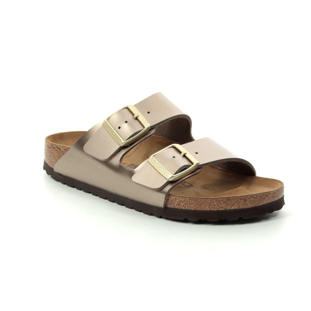 1955f06e2685e Birkenstock Slide Sandals - Metallic - 1012972 ARIZONA ELECTRIC METALLIC  TAUPE NARROW FIT