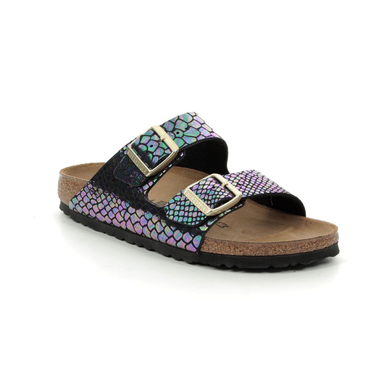 2f32507927cc Birkenstock Slide Sandals - Black - 1003463 ARIZONA SHINY SNAKE NARROW FIT