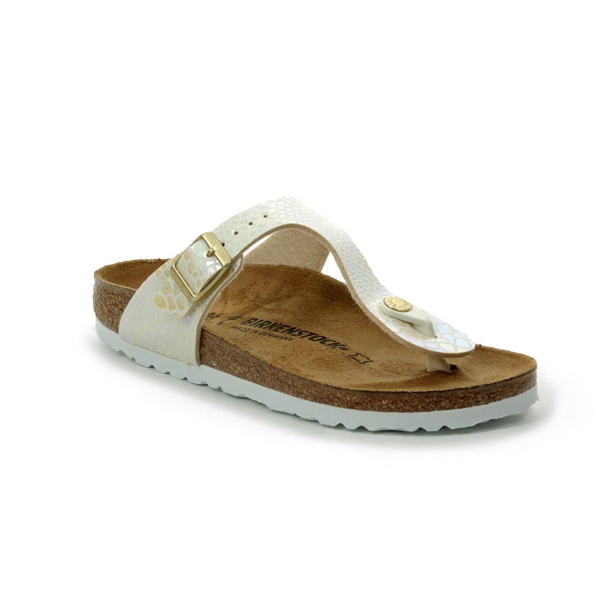 8944fb5f41ac Birkenstock Toe Post Sandals - Beige - 0847433 GIZEH SHINY SNAKE CREAM