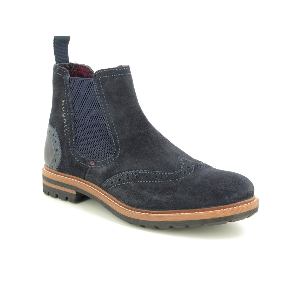 closer at great quality new lifestyle Bugatti Silvestro Chelsea 31181561-4000 Navy suede Chelsea Boots