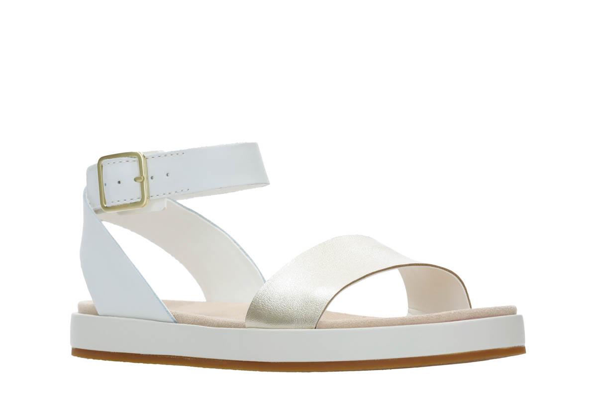 Clarks Botanic Ivy D Fit White Flat Sandals