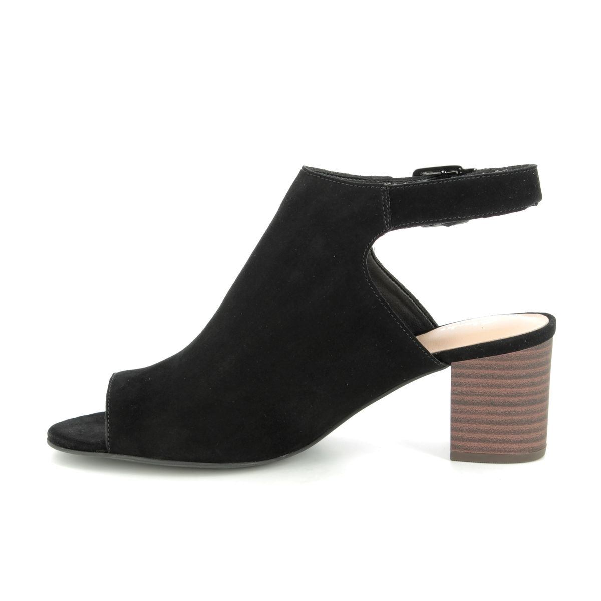 04a1c43b3991 Clarks Heeled Sandals - Black suede - 400994D DELORIA GIA