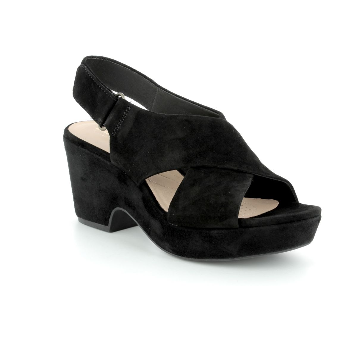 450d38b2606 Clarks Heeled Sandals - Black suede or snake - 3177 44D MARITSA LARA