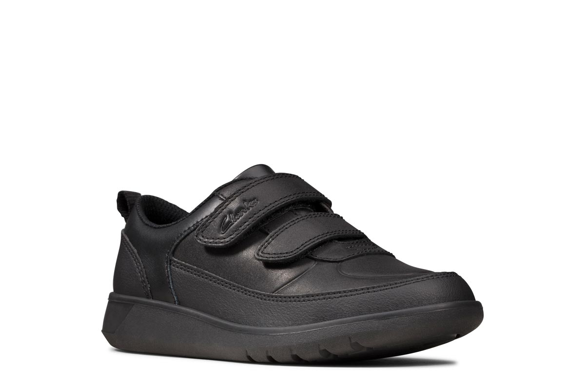 Clarks Scape Flare K F Fit Black Leather School Shoes