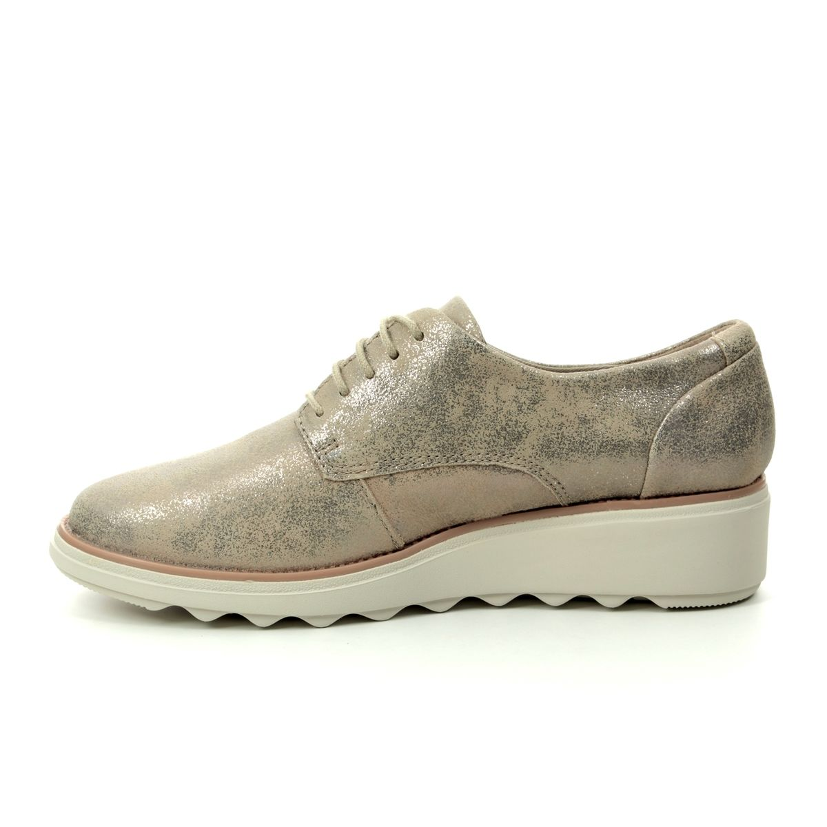 64f414ff33e3 Clarks Wedge Shoes - Pewter suede - 400714D SHARON CRYSTAL
