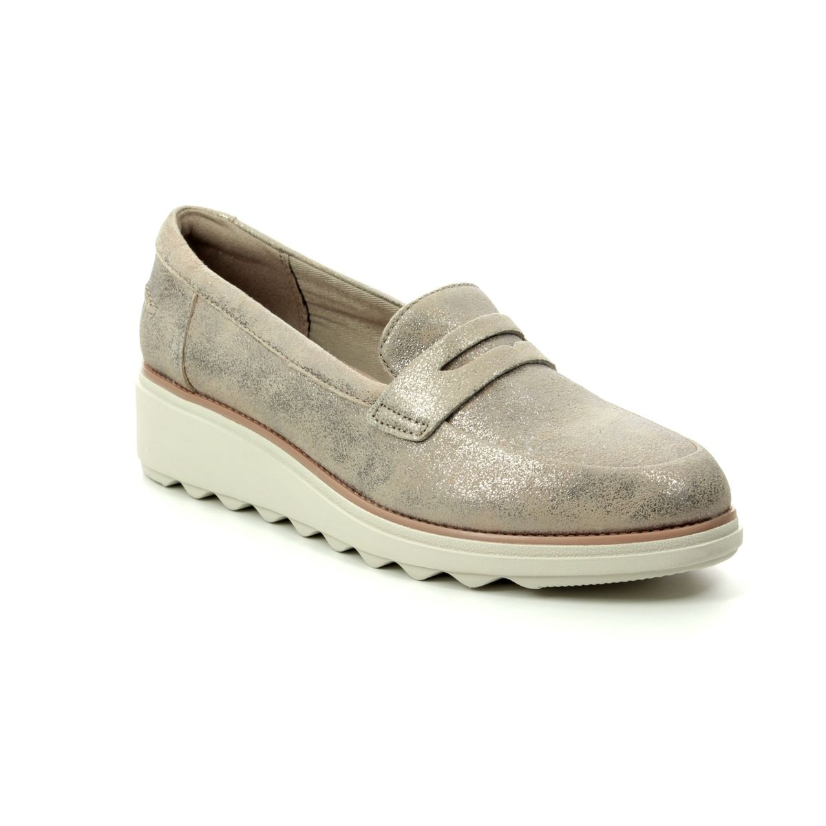 910cae3072d4 Clarks Wedge Shoes - Pewter suede - 406504D SHARON RANCH