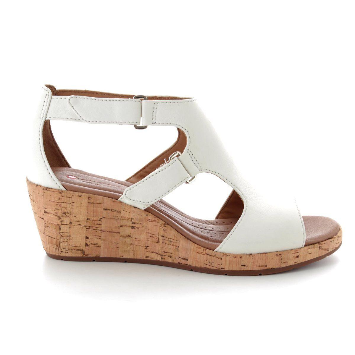 37c24a118c3 Clarks Wedge Sandals - White - 3326 54D UN PLAZA STRAP