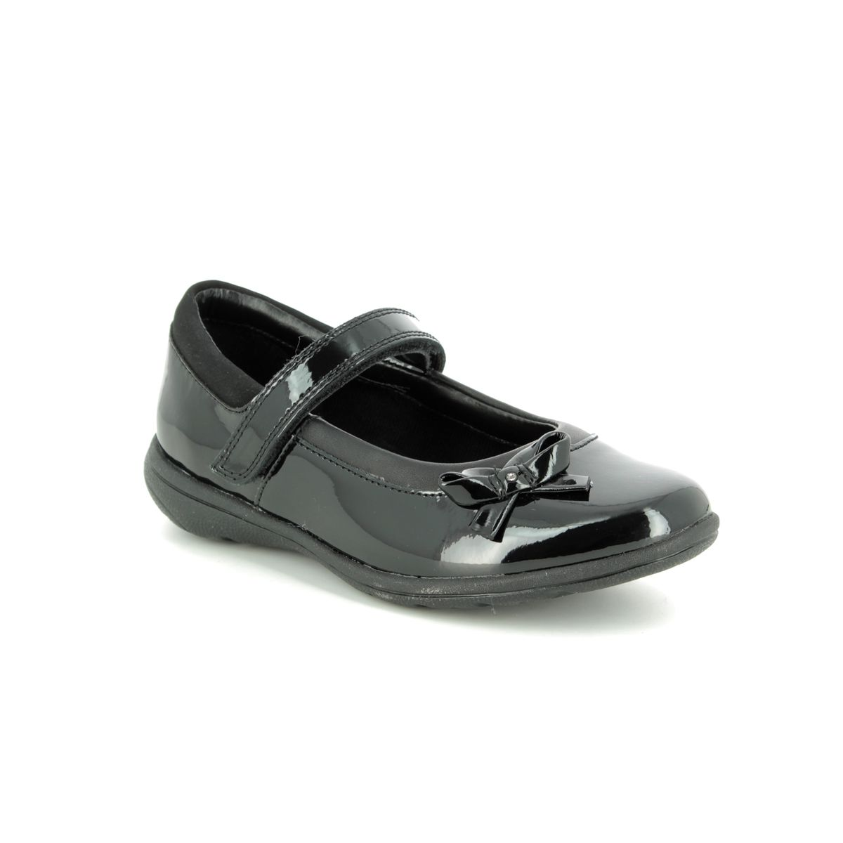 negocio Adelante Doctrina  Clarks Venture Star I G Fit Black patent school shoes