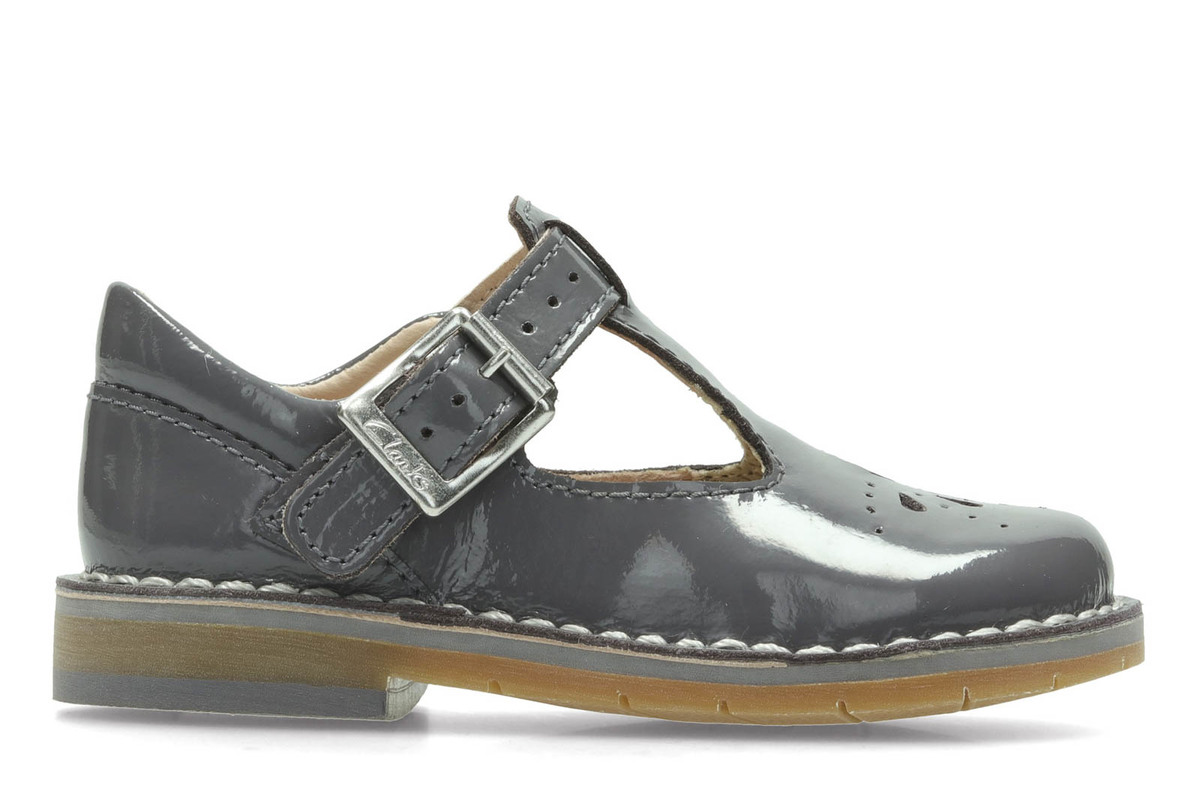 Clarks Grey Patent Shoes Girls