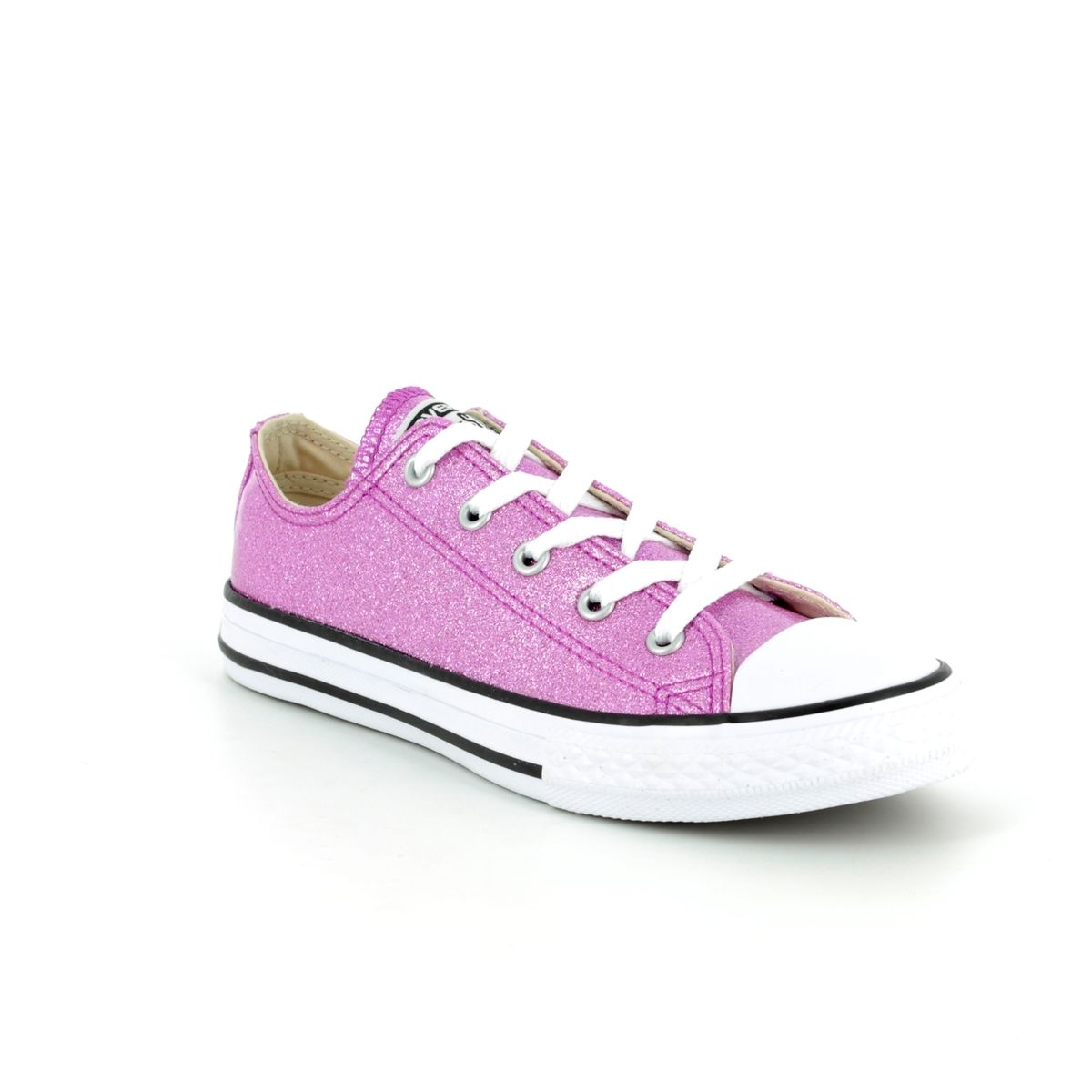 38ddd695e6b2 Converse All Star Ox Jnr 660047C Pink Glitter Lacing Trainers