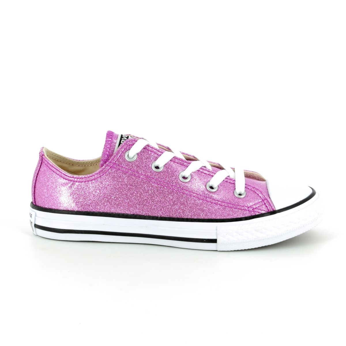 312d4a0b942b Converse All Star Ox Jnr 660047C Pink Glitter Lacing Trainers
