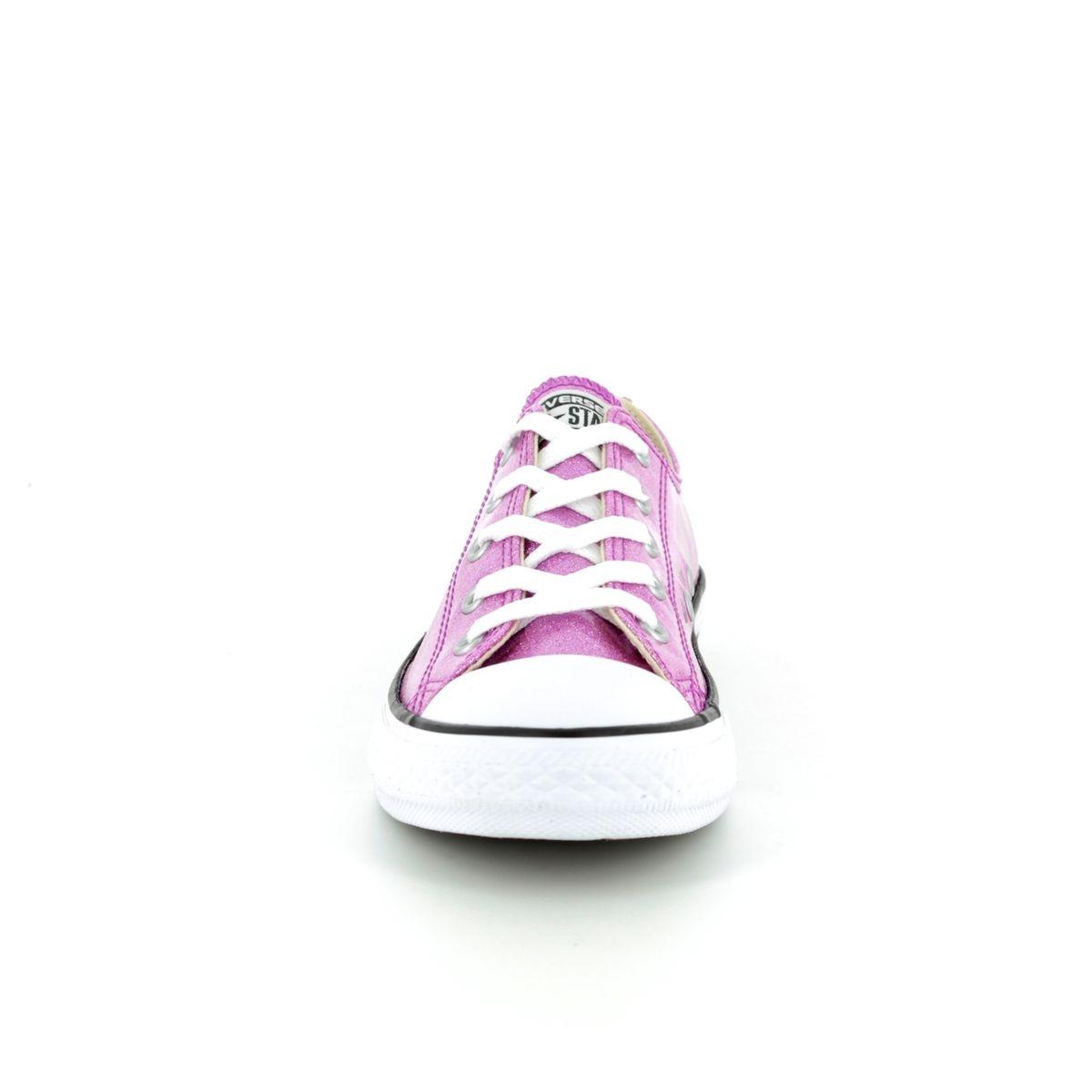 d219879979315f Converse All Star Ox Jnr 660047C Pink Glitter Lacing Trainers
