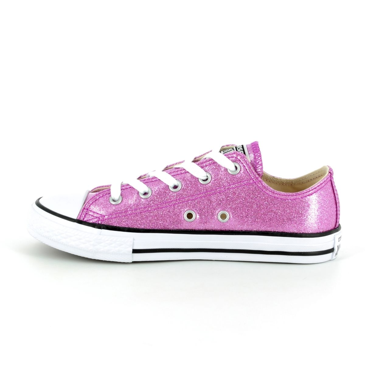 edabf82e152d Converse All Star Ox Jnr 660047C Pink Glitter Lacing Trainers
