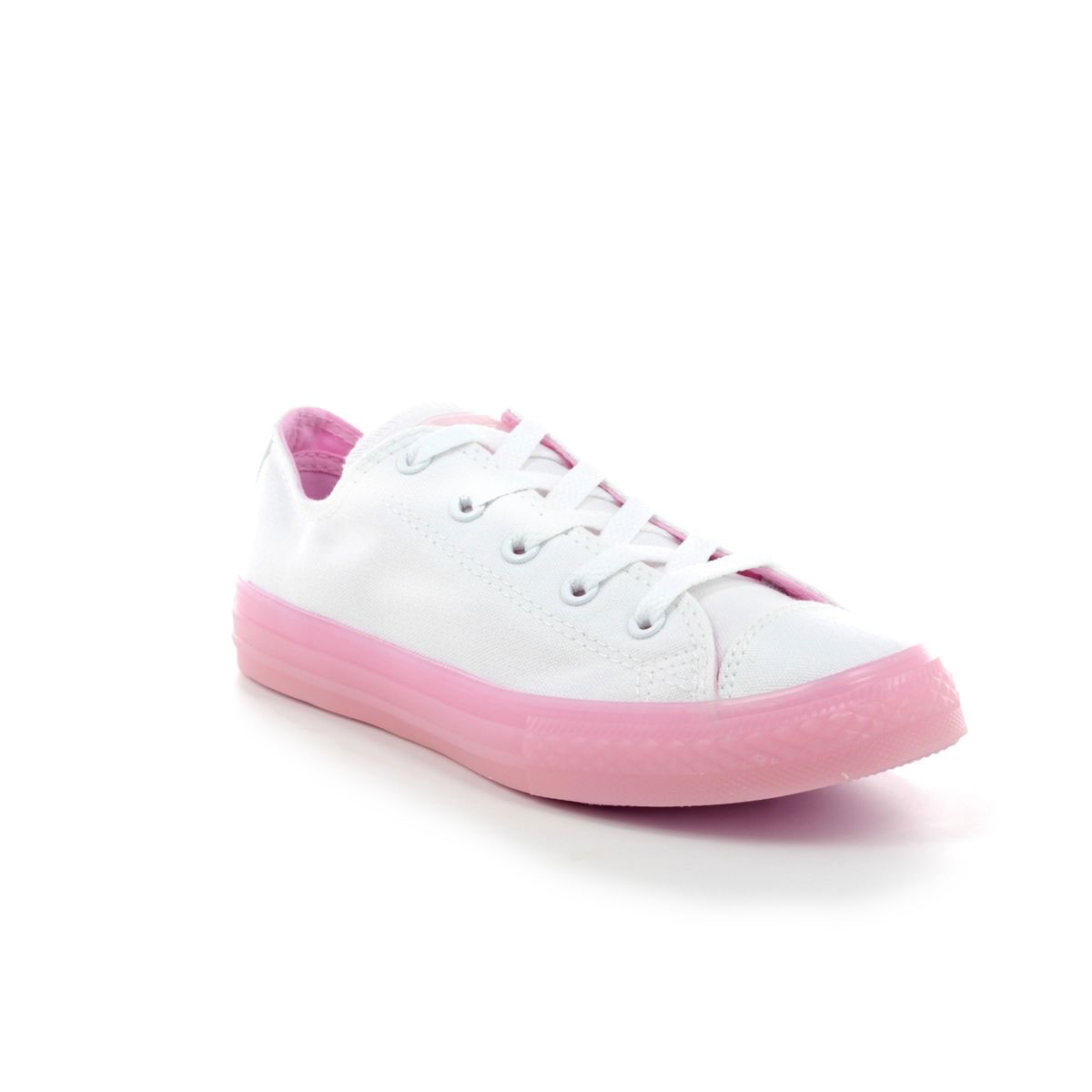 converse white & pink all star ox trainers
