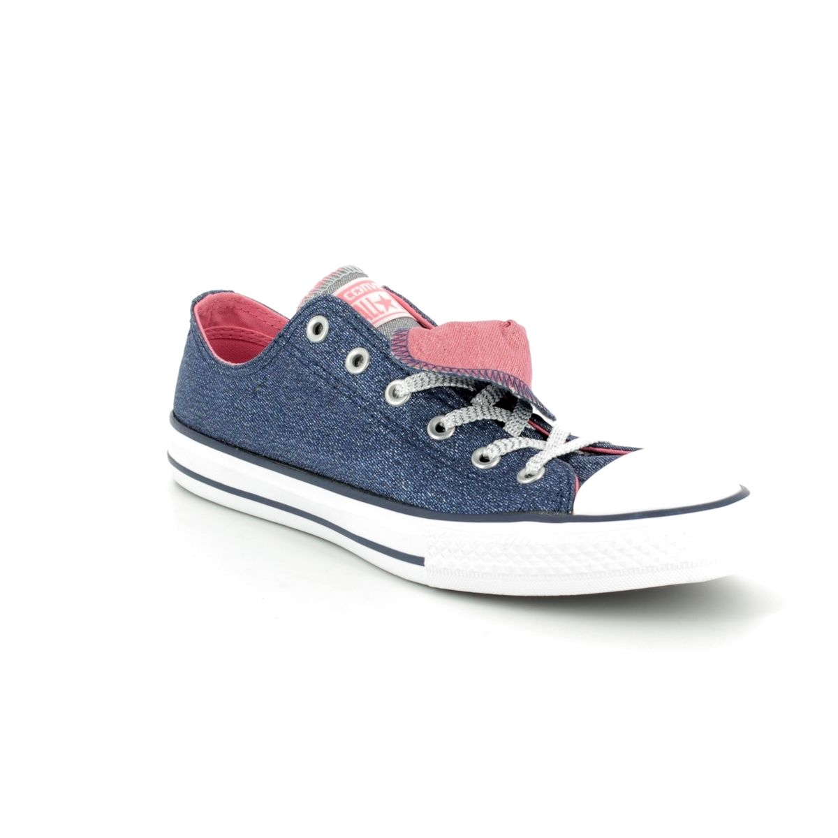 98a8ceb44e1583 Converse Trainers - Navy - 658112C Chuck Taylor All Star Double Tongue OX